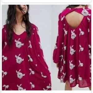 Free People Pocket Dress Puff Sleeves Key Hole XS
